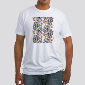 Day of The Dead Sugar Skull, Hallow Fitted T-Shirt