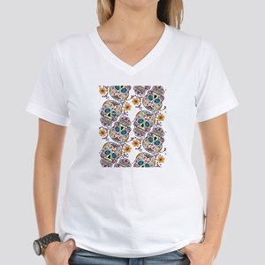 Day of The Dead Sugar Skull Women's V-Neck T-Shirt
