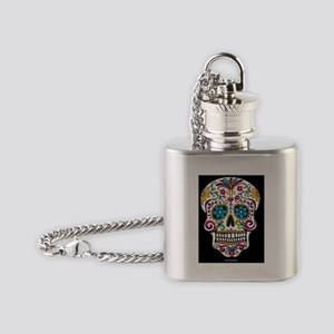 Day of The Dead Sugar Skull, Hallow Flask Necklace