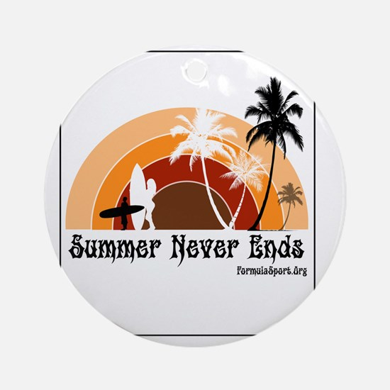Summer Never Ends Round Ornament