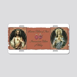 2 Sacred Hearts Aluminum License Plate