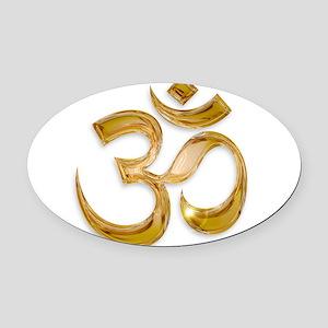 Gold Om Oval Car Magnet