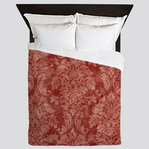 vintage orange floral Queen Duvet