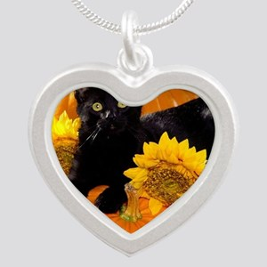 Halloween Cat Silver Heart Necklace