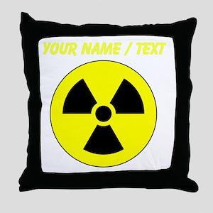 Custom Yellow Round Radioactive Throw Pillow