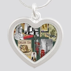 Anglophiles Delight Silver Heart Necklace