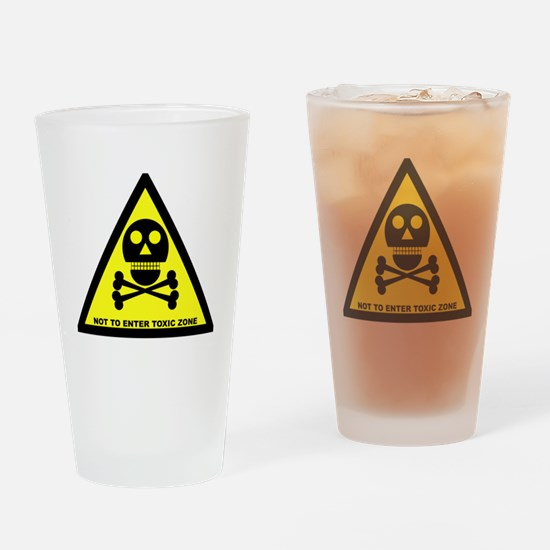 Toxic Zone Sign Drinking Glass