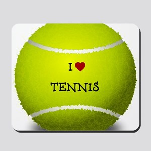 I Love Tennis on a Yellow Tennis Ball Mousepad