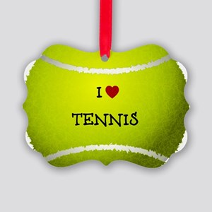 I Love Tennis on a Yellow Tennis  Picture Ornament
