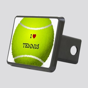 I Love Tennis on a Yellow  Rectangular Hitch Cover
