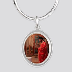 Romanian Orthodox Christian P Silver Oval Necklace