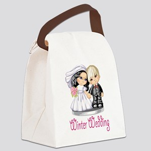 Winter Wedding Cake Dolls Canvas Lunch Bag
