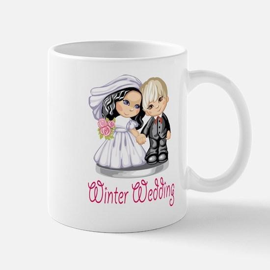 Winter Wedding Cake Dolls Mug