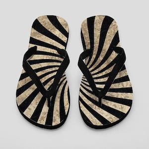 Black White Worn Twist Flip Flops