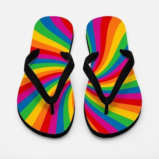 Rainbow Twist Stripes Flip Flops