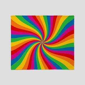 Rainbow Twist Stripes Throw Blanket