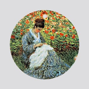 Camille Monet and Child Round Ornament