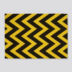 Yellow and Black Jig Jag 5'x7'Area Rug