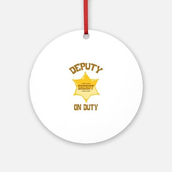 Deputy Sheriff On Duty Ornament (Round)