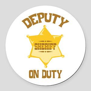 Deputy Sheriff On Duty Round Car Magnet