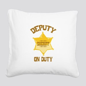 Deputy Sheriff On Duty Square Canvas Pillow