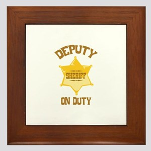 Deputy Sheriff On Duty Framed Tile