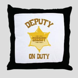 Deputy Sheriff On Duty Throw Pillow