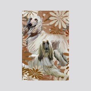 Afghan Hound Floral Rectangle Magnet