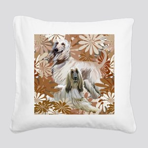Afghan Hound Floral Square Canvas Pillow