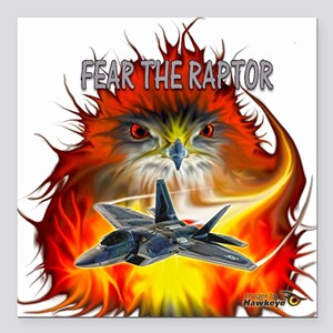 """Fear The Raptor Square Car Magnet 3"""" x 3"""""""