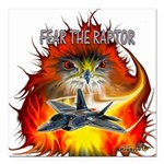 Fear The Raptor Square Car Magnet 3