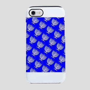 Blue Menorahs Hanukkah Mensch iPhone 7 Tough Case
