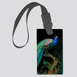 Vintage Peacock Large Luggage Tag