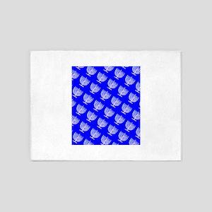 Blue Menorahs Hanukkah Mensch 4Josh 5'x7'Area Rug