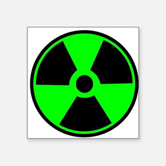 Green round radioactive sticker