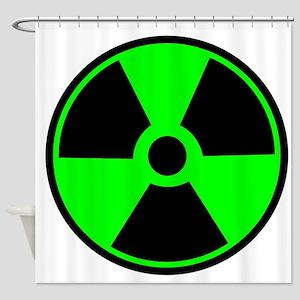 Green Round Radioactive Shower Curtain