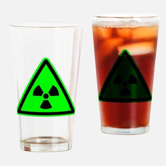 Green Radioactive Yield Sign Drinking Glass