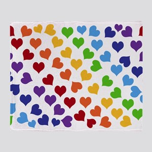 Colorful Rainbow Hearts Throw Blanket