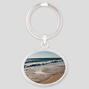 New Jersey beach Oval Keychain
