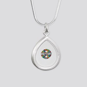 Wolverine Circle Collage Silver Teardrop Necklace