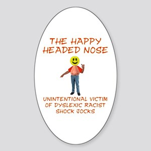 Happy Headed Nose Oval Sticker