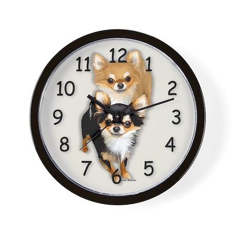 Chihuahua Long Coat Duo Wall Clock