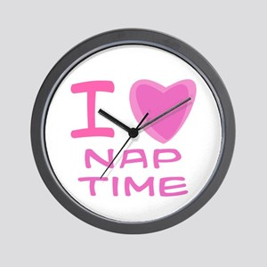 Pink I Heart (Love) Nap Time Wall Clock