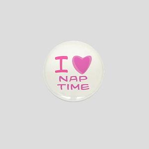 Pink I Heart (Love) Nap Time Mini Button