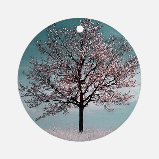 Pink Cherry Blossom Tree Round Ornament