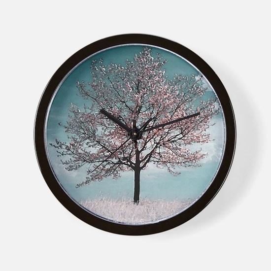 Pink Cherry Blossom Tree Wall Clock