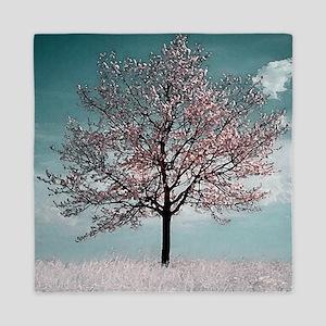 Pink Cherry Blossom Tree Queen Duvet