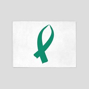 Awareness Ribbon (Teal) 5'x7'Area Rug