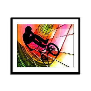 BMX Lines Circles Horizontal Framed Panel Print