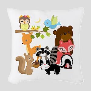 Forest Friends Woven Throw Pillow